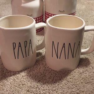 """Rae Dunn """"Nana"""" and """"Papa"""" Mug Set"""